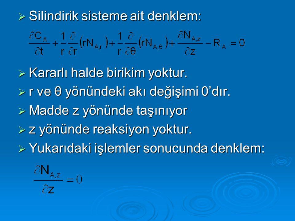 Silindirik sisteme ait denklem: