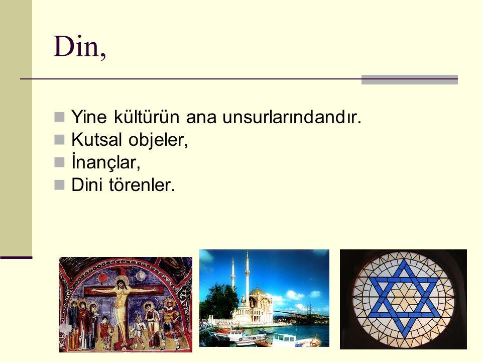 Din, Yine kültürün ana unsurlarındandır. Kutsal objeler, İnançlar,