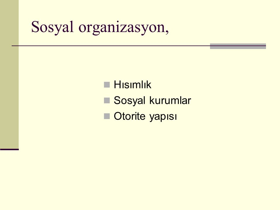 Sosyal organizasyon, Hısımlık Sosyal kurumlar Otorite yapısı