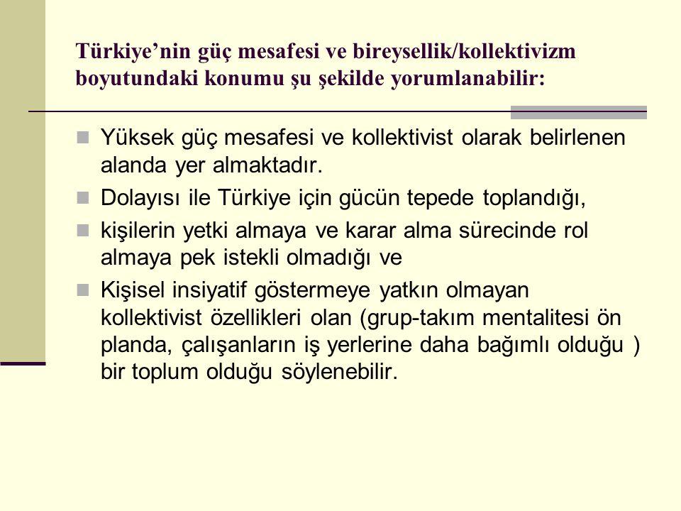 Türkiye'nin güç mesafesi ve bireysellik/kollektivizm boyutundaki konumu şu şekilde yorumlanabilir: