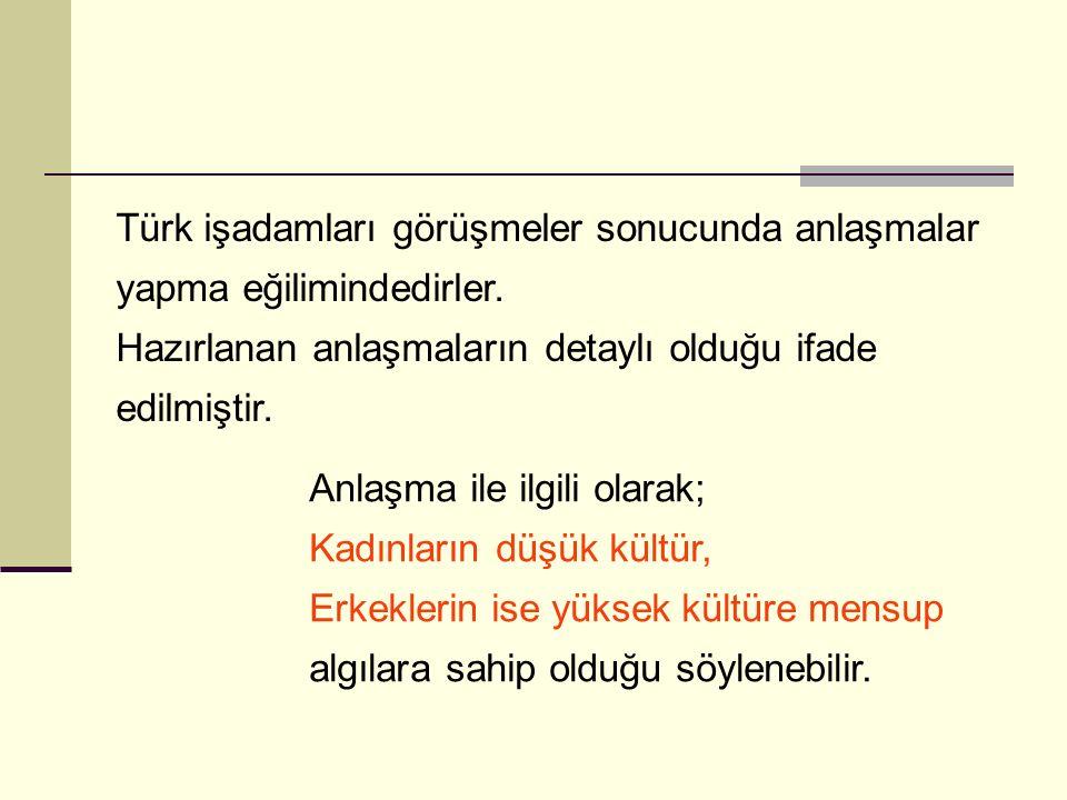 Türk işadamları görüşmeler sonucunda anlaşmalar yapma eğilimindedirler.