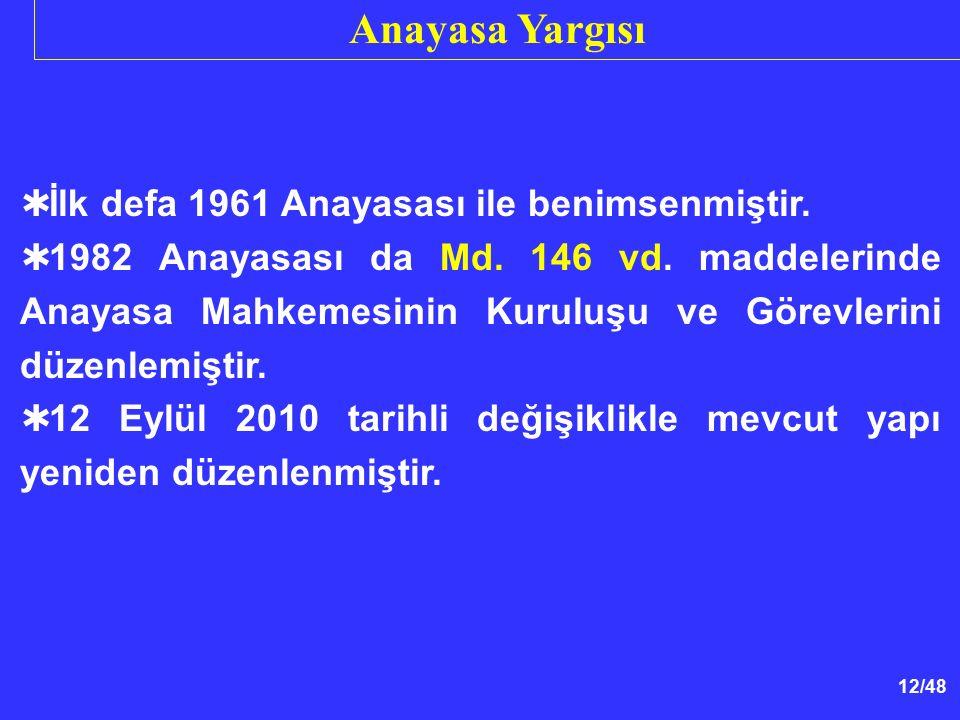Anayasa Yargısı İlk defa 1961 Anayasası ile benimsenmiştir.