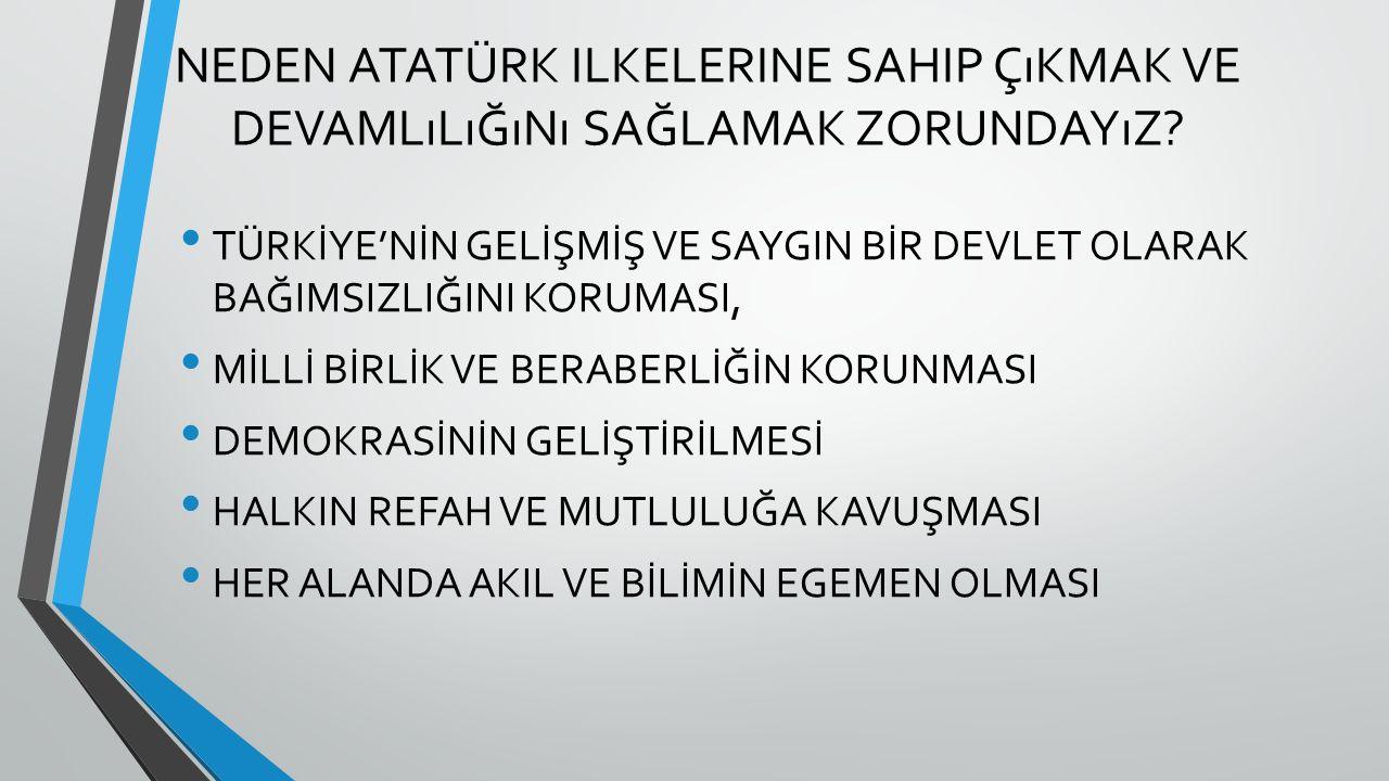 Neden Atatürk ilkelerine sahip çıkmak ve devamlılığını sağlamak zorundayız