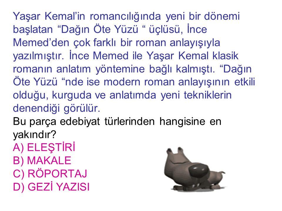 Yaşar Kemal'in romancılığında yeni bir dönemi başlatan Dağın Öte Yüzü üçlüsü, İnce Memed'den çok farklı bir roman anlayışıyla yazılmıştır.