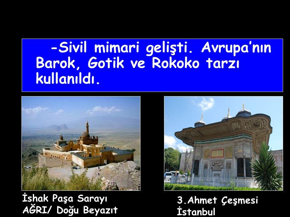 -Sivil mimari gelişti. Avrupa'nın Barok, Gotik ve Rokoko tarzı kullanıldı.