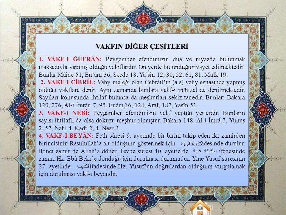 VAKFIN DİĞER ÇEŞİTLERİ