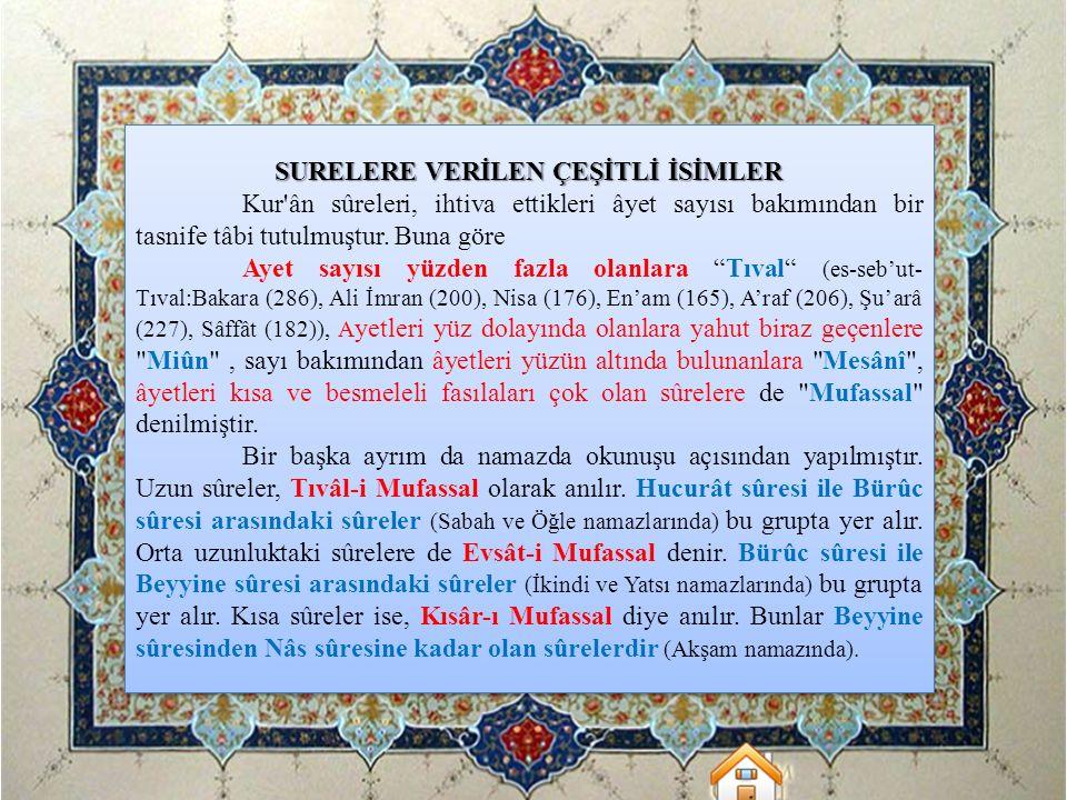 SURELERE VERİLEN ÇEŞİTLİ İSİMLER