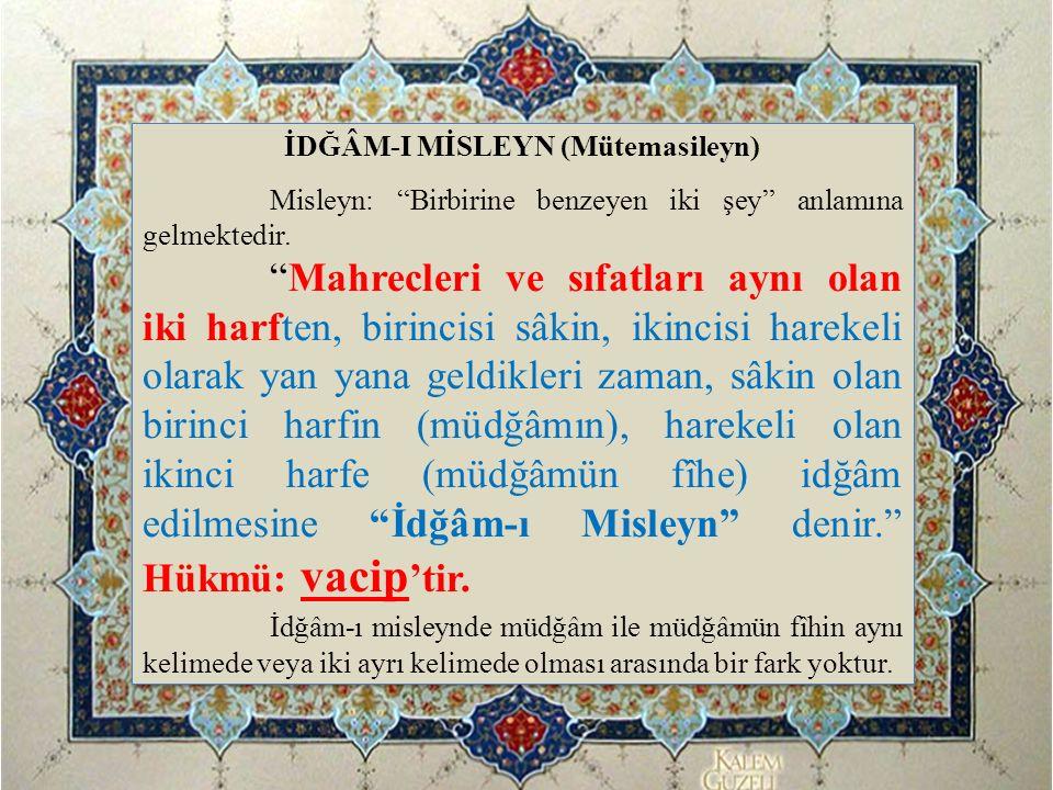 İDĞÂM-I MİSLEYN (Mütemasileyn)