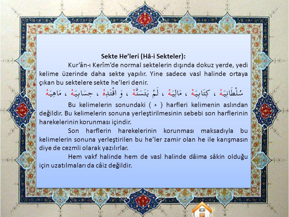 Sekte He'leri (Hâ-i Sekteler):