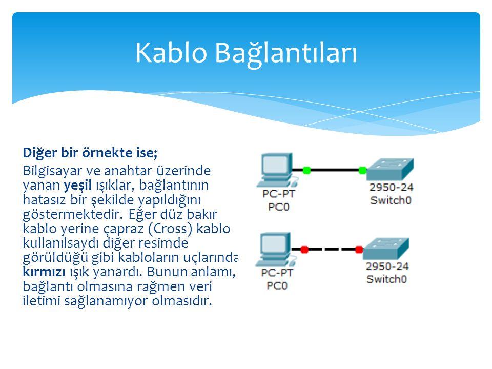 Kablo Bağlantıları Diğer bir örnekte ise;