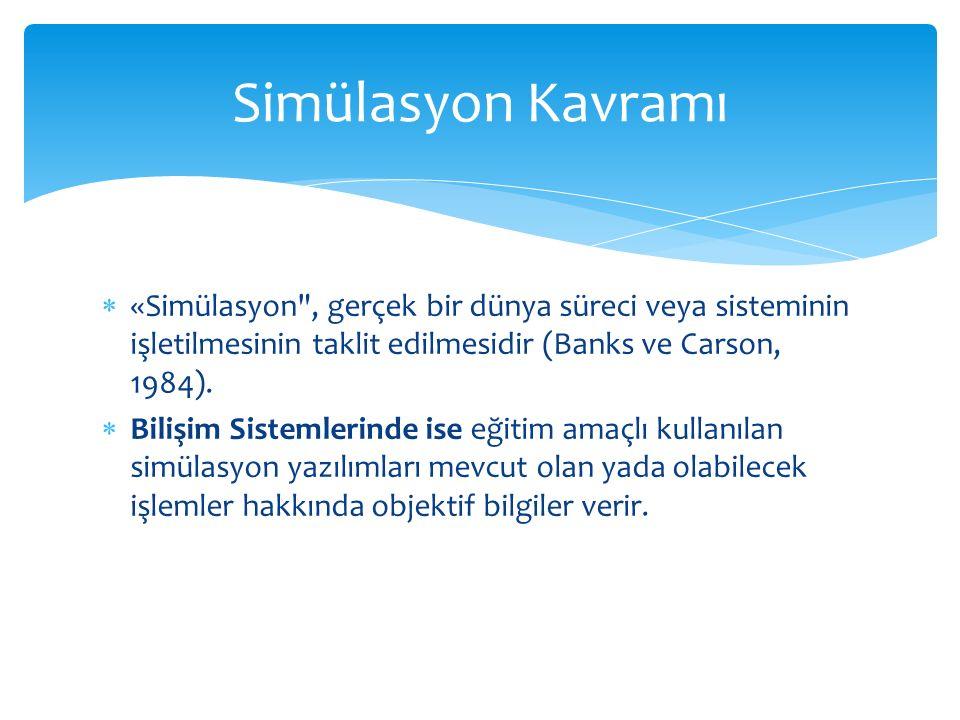 Simülasyon Kavramı «Simülasyon , gerçek bir dünya süreci veya sisteminin işletilmesinin taklit edilmesidir (Banks ve Carson, 1984).