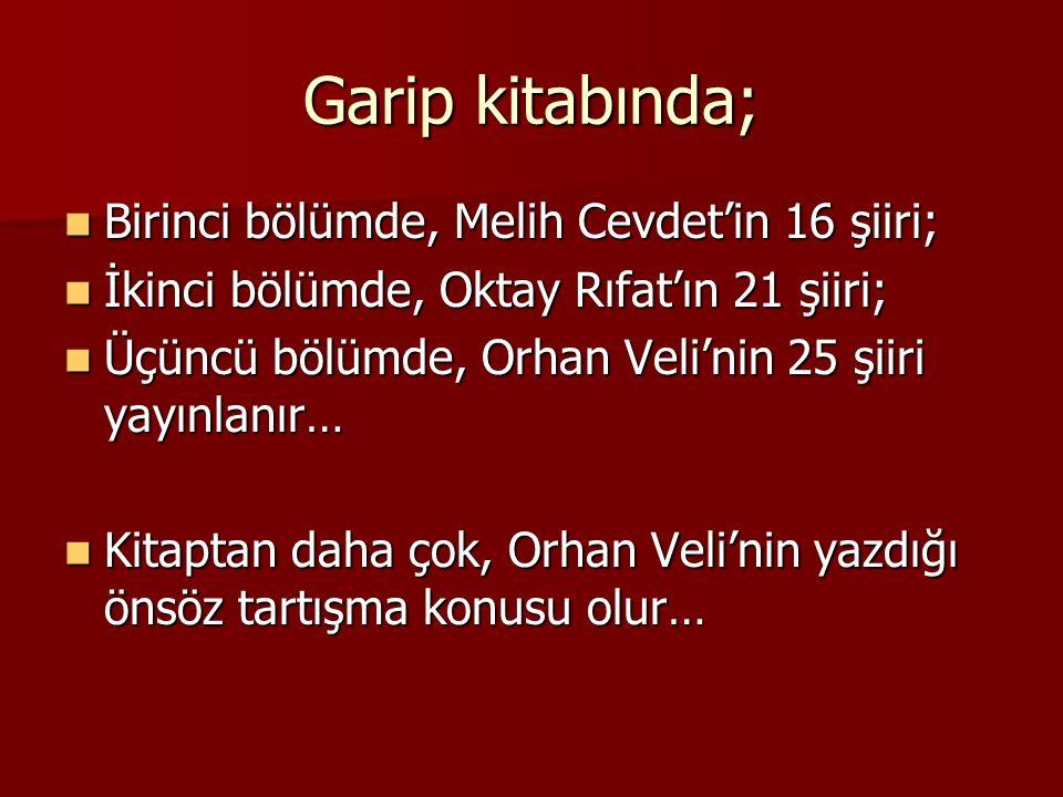 Garip kitabında; Birinci bölümde, Melih Cevdet'in 16 şiiri;
