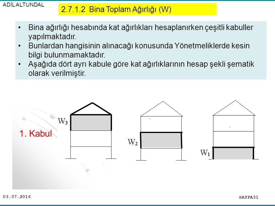 1. Kabul 2.7.1.2 Bina Toplam Ağırlığı (W)