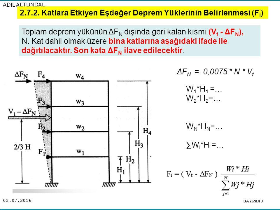 2.7.2. Katlara Etkiyen Eşdeğer Deprem Yüklerinin Belirlenmesi (Fi)