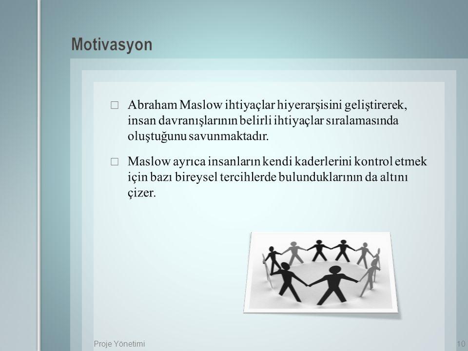 Motivasyon Abraham Maslow ihtiyaçlar hiyerarşisini geliştirerek, insan davranışlarının belirli ihtiyaçlar sıralamasında oluştuğunu savunmaktadır.