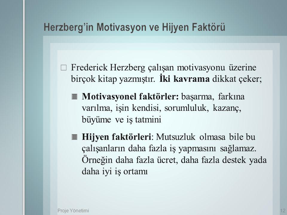 Herzberg'in Motivasyon ve Hijyen Faktörü