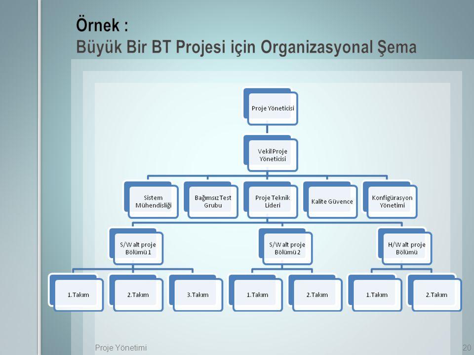 Örnek : Büyük Bir BT Projesi için Organizasyonal Şema