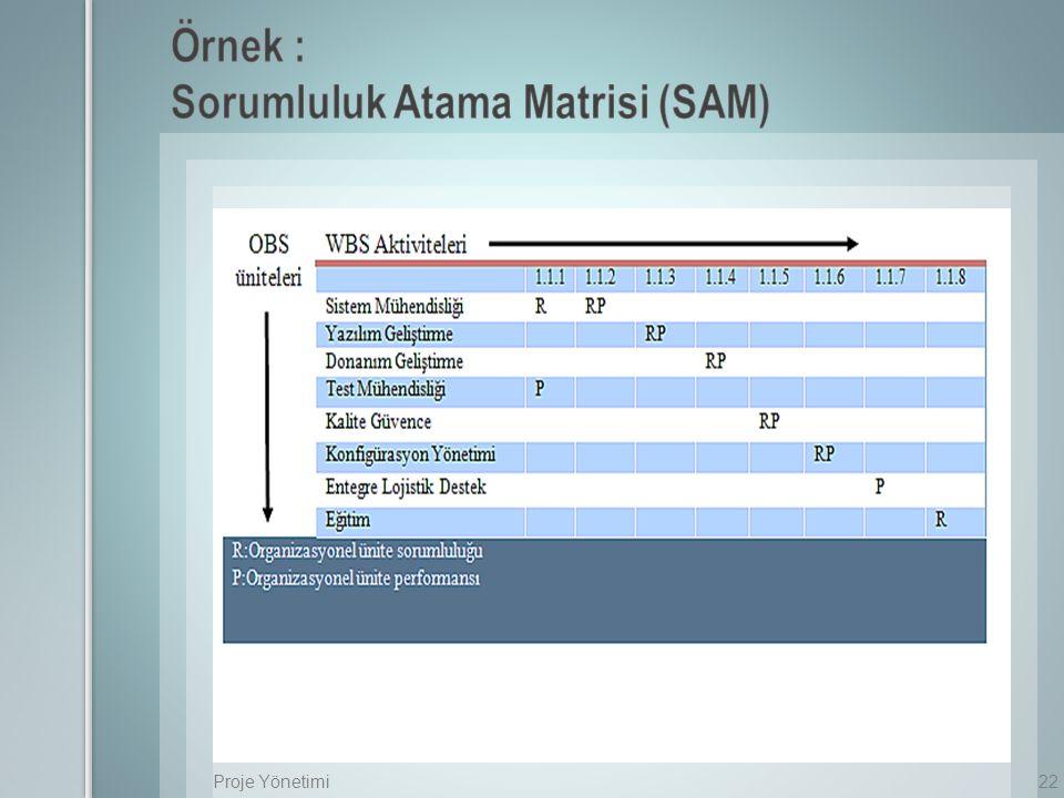 Örnek : Sorumluluk Atama Matrisi (SAM)