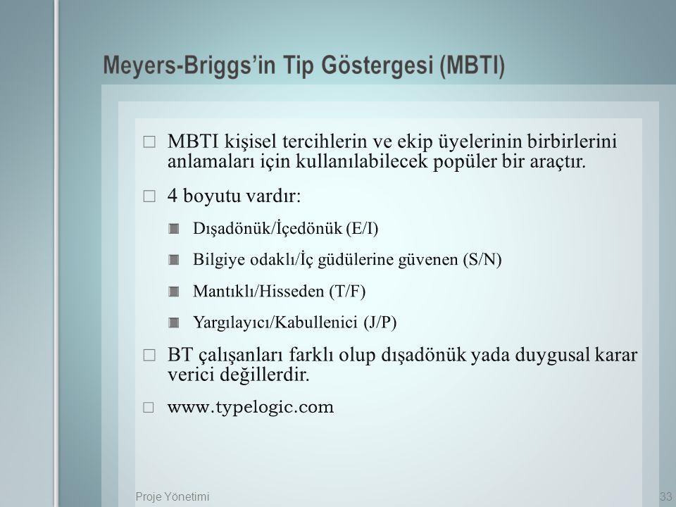 Meyers-Briggs'in Tip Göstergesi (MBTI)