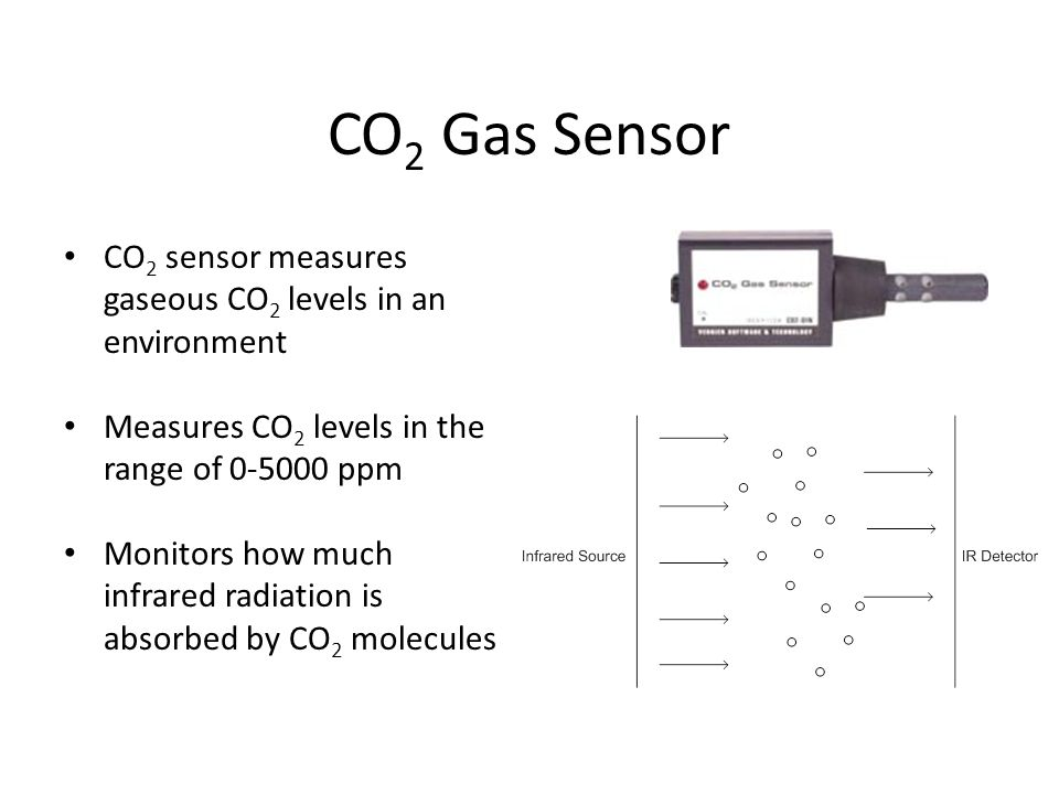 CO2 Gas Sensor CO2 sensor measures gaseous CO2 levels in an environment. Measures CO2 levels in the range of 0-5000 ppm.