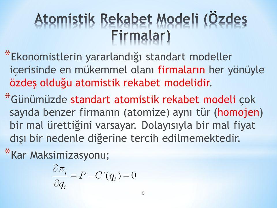 Atomistik Rekabet Modeli (Özdeş Firmalar)