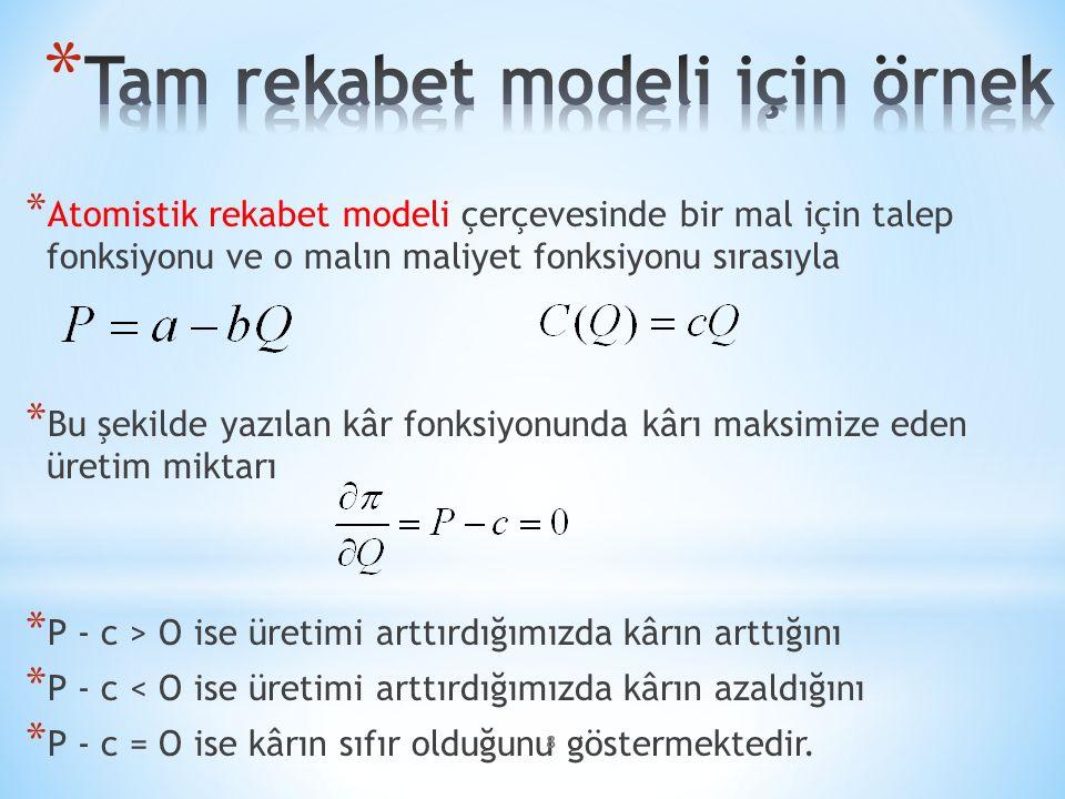 Tam rekabet modeli için örnek