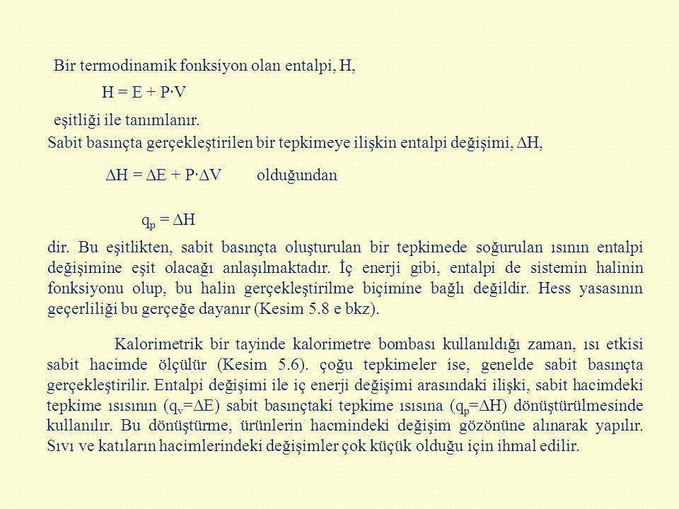 Bir termodinamik fonksiyon olan entalpi, H,