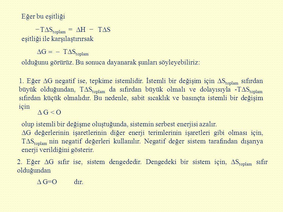 Eğer bu eşitliği TΔStoplam. = TΔS. − ΔH. eşitliği ile karşılaştırırsak. TΔStoplam. = ΔG. −