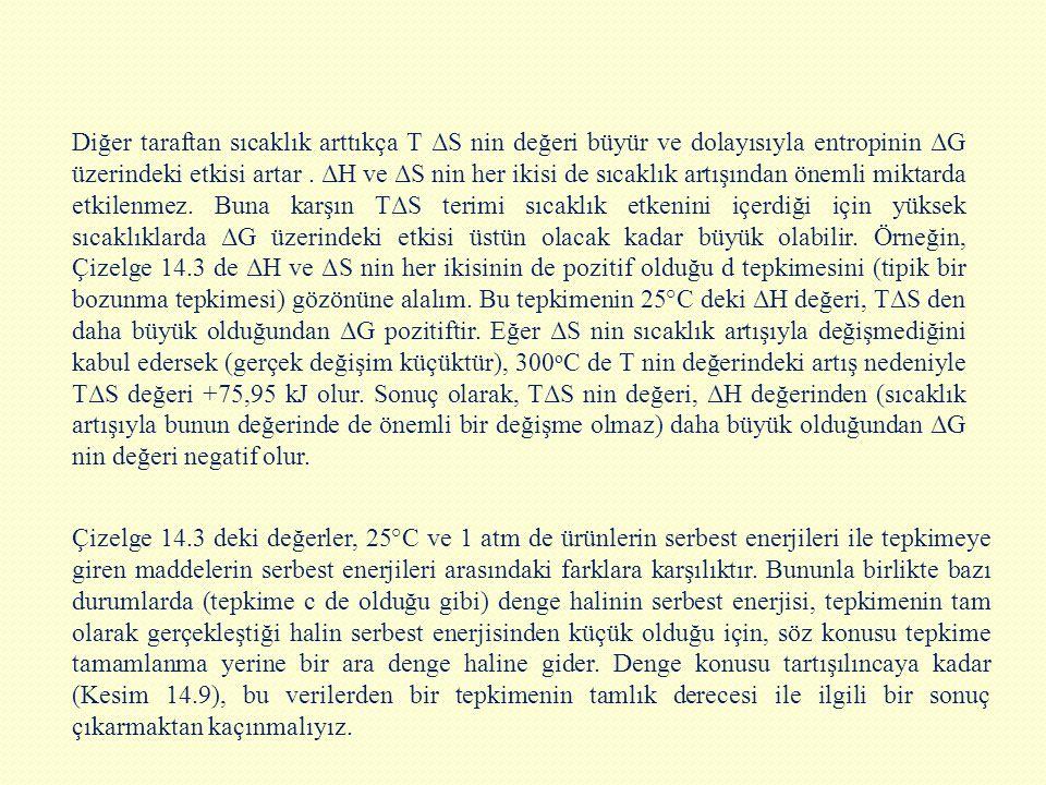 Diğer taraftan sıcaklık arttıkça T ΔS nin değeri büyür ve dolayısıyla entropinin ΔG üzerindeki etkisi artar . ΔH ve ΔS nin her ikisi de sıcaklık artışından önemli miktarda etkilenmez. Buna karşın TΔS terimi sıcaklık etkenini içerdiği için yüksek sıcaklıklarda ΔG üzerindeki etkisi üstün olacak kadar büyük olabilir. Örneğin, Çizelge 14.3 de ΔH ve ΔS nin her ikisinin de pozitif olduğu d tepkimesini (tipik bir bozunma tepkimesi) gözönüne alalım. Bu tepkimenin 25°C deki ΔH değeri, TΔS den daha büyük olduğundan ΔG pozitiftir. Eğer ΔS nin sıcaklık artışıyla değişmediğini kabul edersek (gerçek değişim küçüktür), 300oC de T nin değerindeki artış nedeniyle TΔS değeri +75,95 kJ olur. Sonuç olarak, TΔS nin değeri, ΔH değerinden (sıcaklık artışıyla bunun değerinde de önemli bir değişme olmaz) daha büyük olduğundan ΔG nin değeri negatif olur.