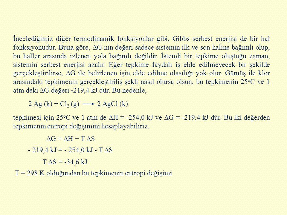 İncelediğimiz diğer termodinamik fonksiyonlar gibi, Gibbs serbest enerjisi de bir hal fonksiyonudur. Buna göre, ΔG nin değeri sadece sistemin ilk ve son haline bağımlı olup, bu haller arasında izlenen yola bağımlı değildir. İstemli bir tepkime oluştuğu zaman, sistemin serbest enerjisi azalır. Eğer tepkime faydalı iş elde edilmeyecek bir şekilde gerçekleştirilirse, ΔG ile belirlenen işin elde edilme olasılığı yok olur. Gümüş ile klor arasındaki tepkimenin gerçekleştiriliş şekli nasıl olursa olsun, bu tepkimenin 25oC ve 1 atm deki ΔG değeri -219,4 kJ dür. Bu nedenle,