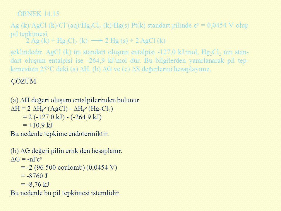 ÖRNEK 14.15 Ag (k)/AgCl (k)/Clˉ(aq)/Hg2Cl2 (k)/Hg(s) Pt(k) standart pilinde εo = 0,0454 V olup pil tepkimesi.