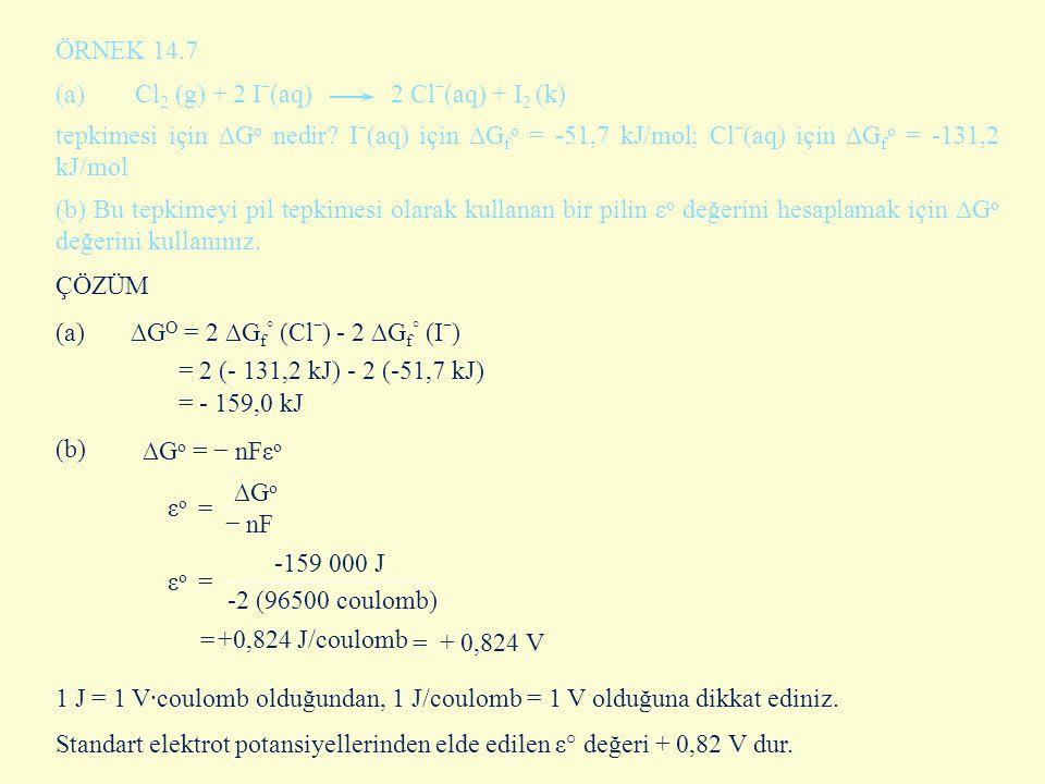 ÖRNEK 14.7 (a) Cl2 (g) + 2 Iˉ(aq) 2 Clˉ(aq) + I2 (k)