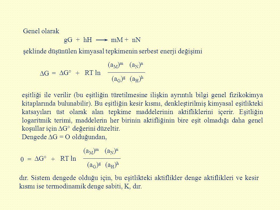 Genel olarak gG + hH mM + nN. şeklinde düşünülen kimyasal tepkimenin serbest enerji değişimi.
