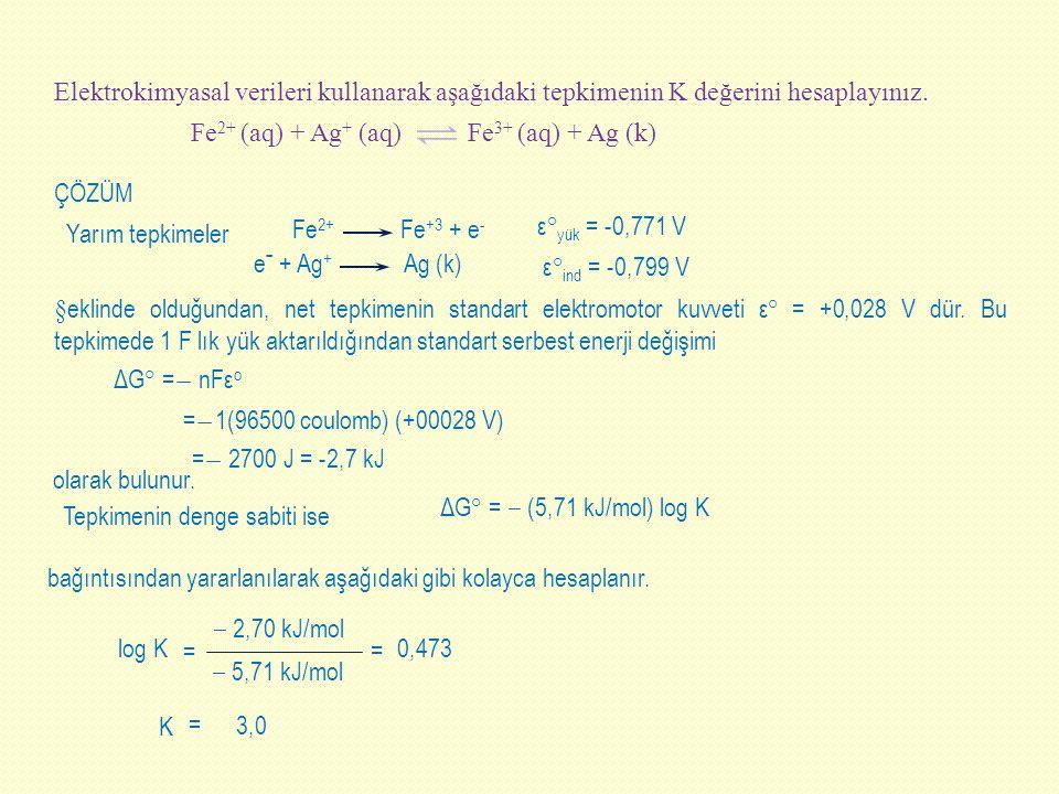 Elektrokimyasal verileri kullanarak aşağıdaki tepkimenin K değerini hesaplayınız.