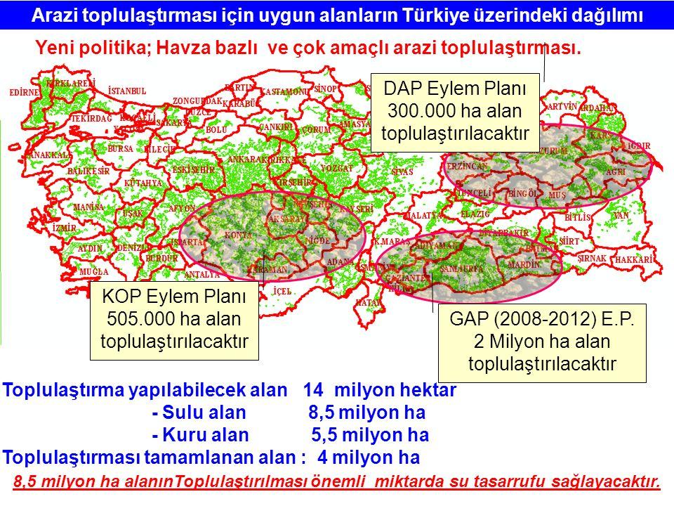 Arazi toplulaştırması için uygun alanların Türkiye üzerindeki dağılımı