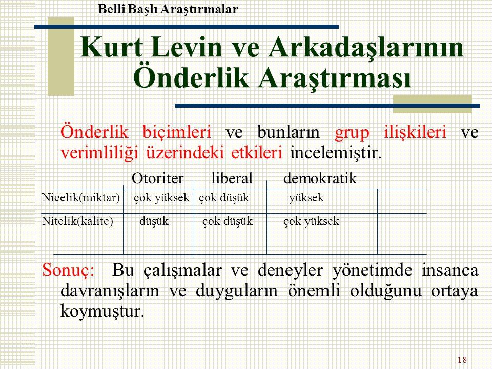 Kurt Levin ve Arkadaşlarının Önderlik Araştırması