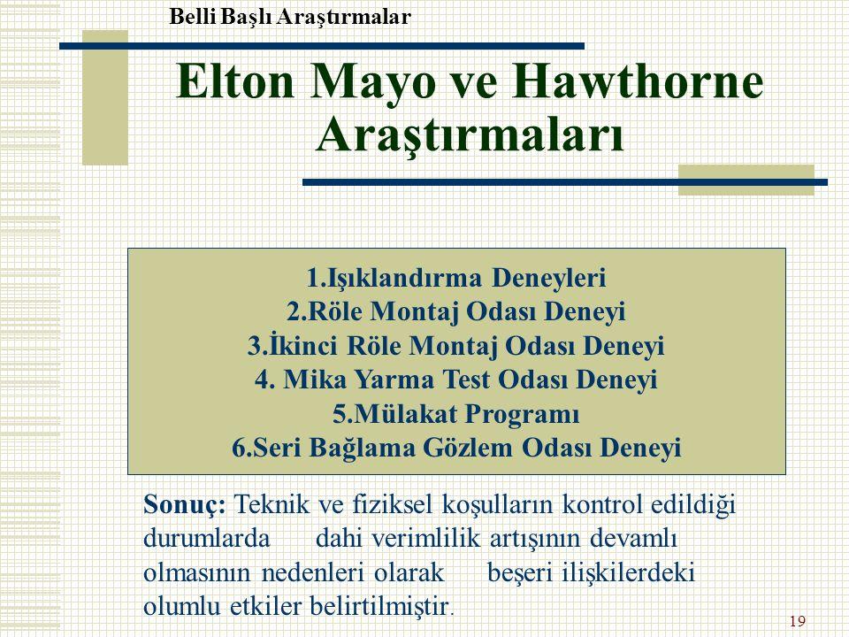 Elton Mayo ve Hawthorne Araştırmaları