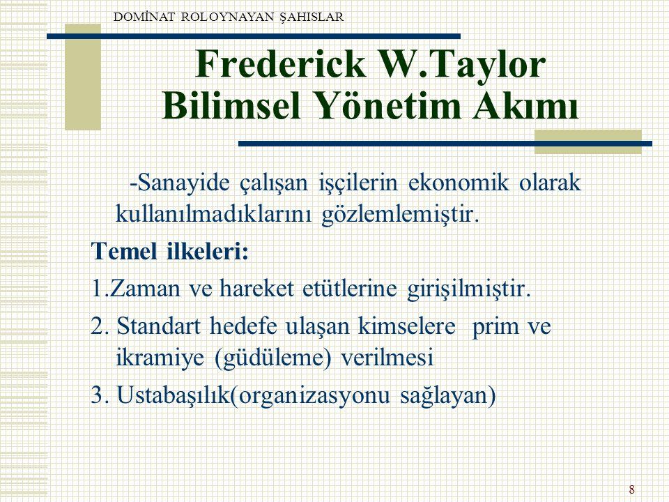 Frederick W.Taylor Bilimsel Yönetim Akımı