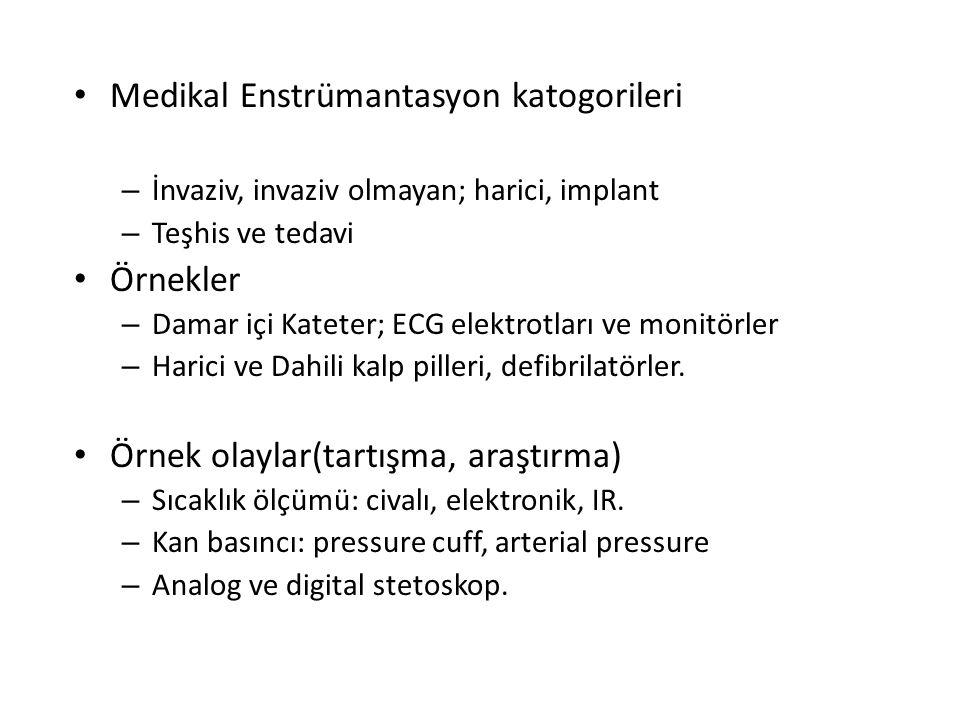 Medikal Enstrümantasyon katogorileri