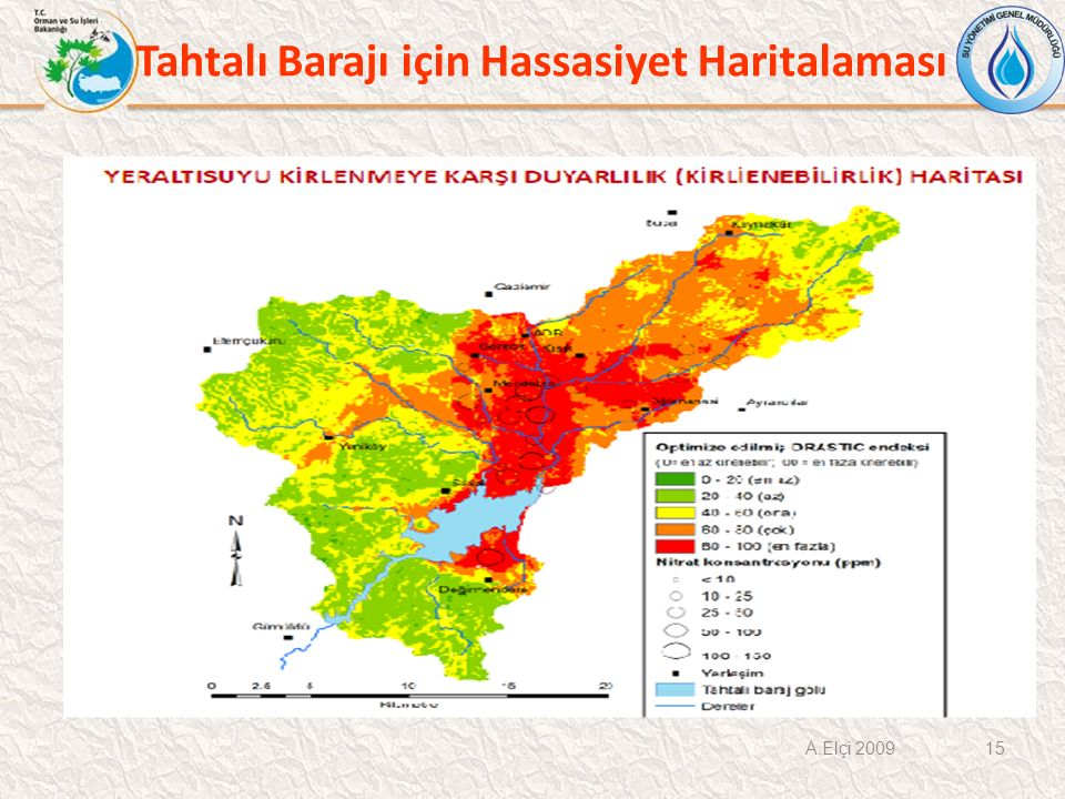 Tahtalı Barajı için Hassasiyet Haritalaması