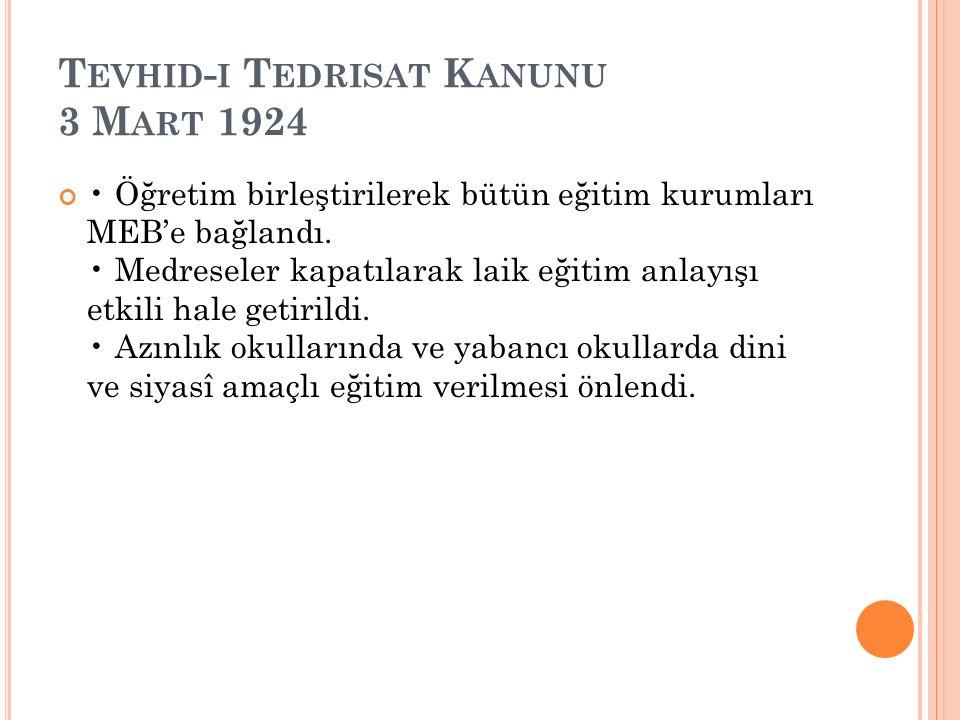 Tevhid-i Tedrisat Kanunu 3 Mart 1924
