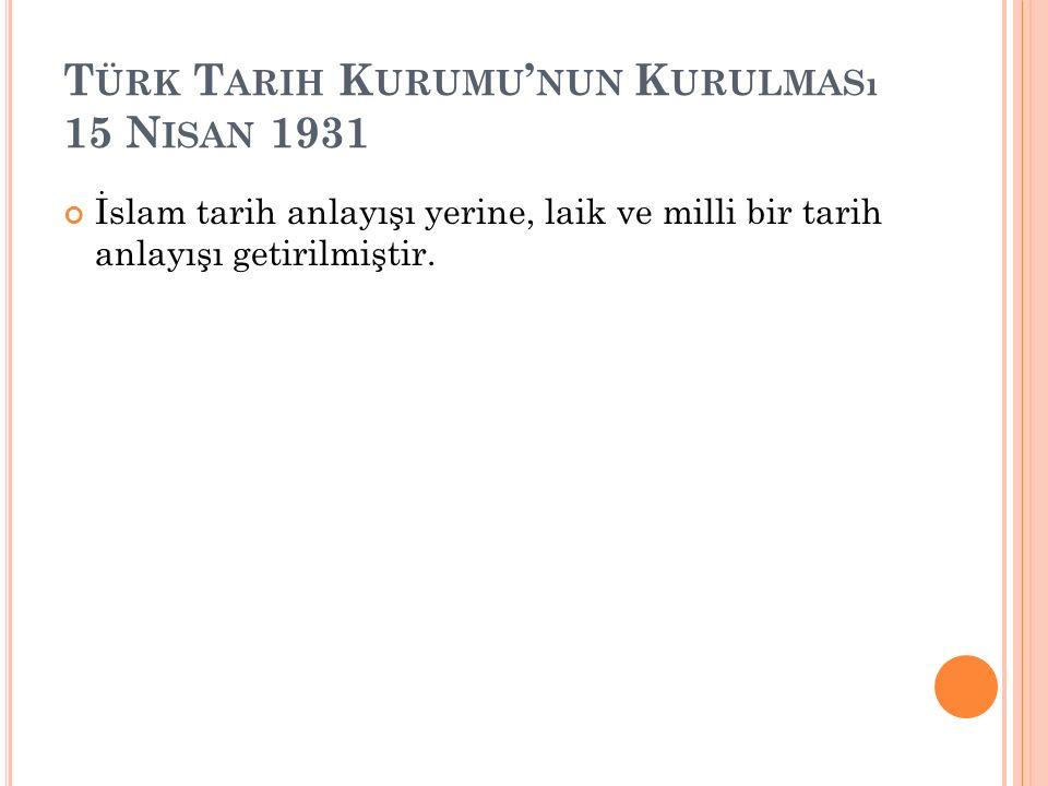 Türk Tarih Kurumu'nun Kurulması 15 Nisan 1931