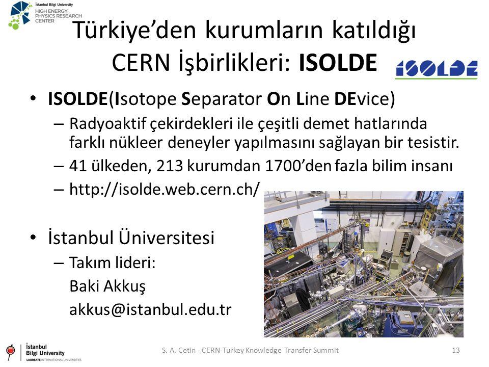 Türkiye'den kurumların katıldığı CERN İşbirlikleri: ISOLDE