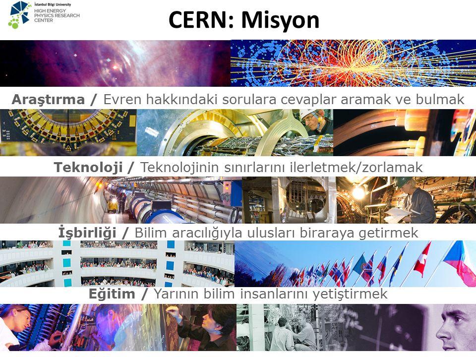CERN: Misyon Araştırma / Evren hakkındaki sorulara cevaplar aramak ve bulmak. Teknoloji / Teknolojinin sınırlarını ilerletmek/zorlamak.