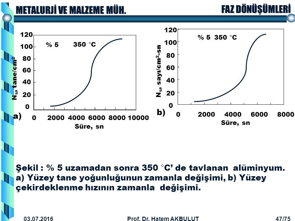 60 80. 100. 120. Süre, sn. 20. 40. 2000. 4000. 6000. 8000. 10000. Ns, tane/cm2. % 5. 350 °C.