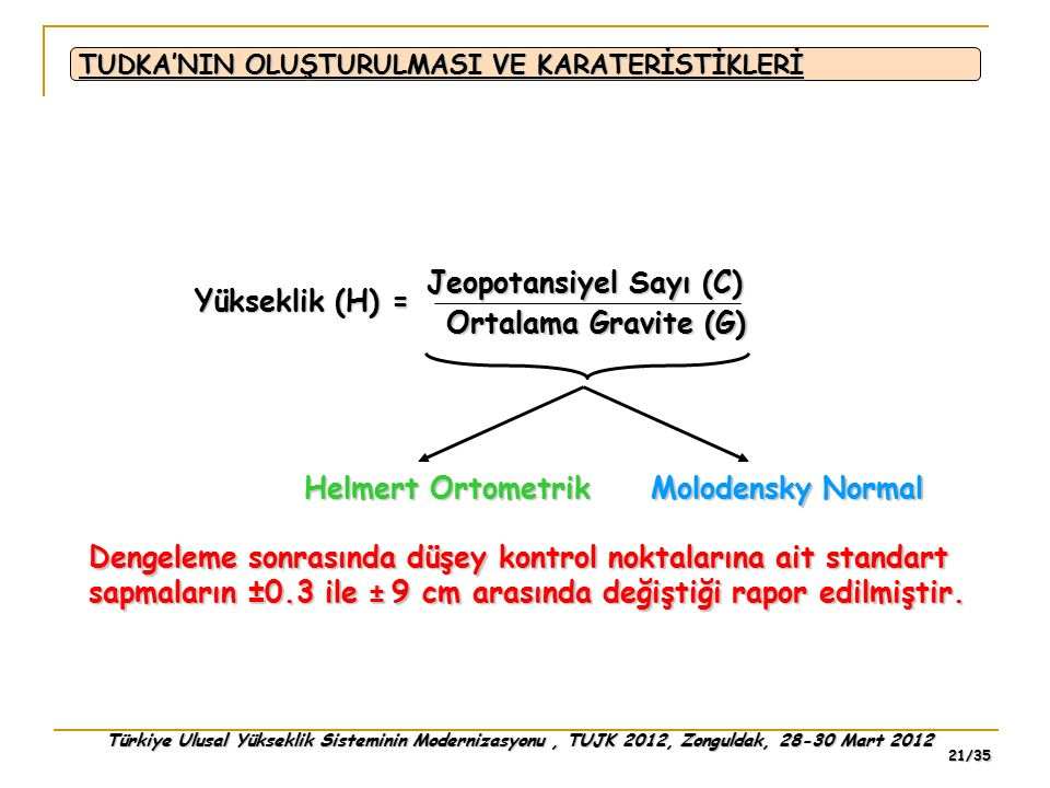 Jeopotansiyel Sayı (C) Yükseklik (H) = Ortalama Gravite (G)