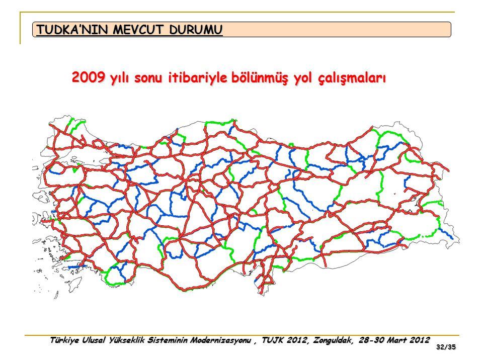 2009 yılı sonu itibariyle bölünmüş yol çalışmaları
