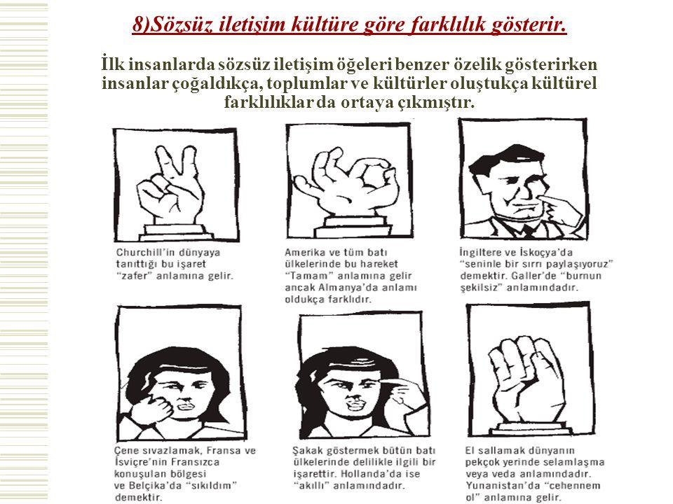 8)Sözsüz iletişim kültüre göre farklılık gösterir