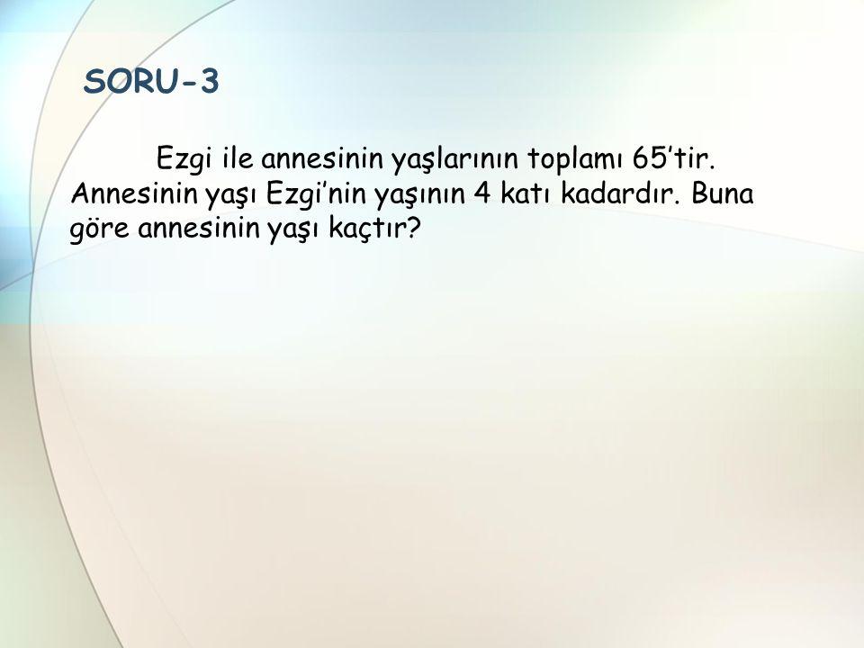 SORU-3 Ezgi ile annesinin yaşlarının toplamı 65'tir.