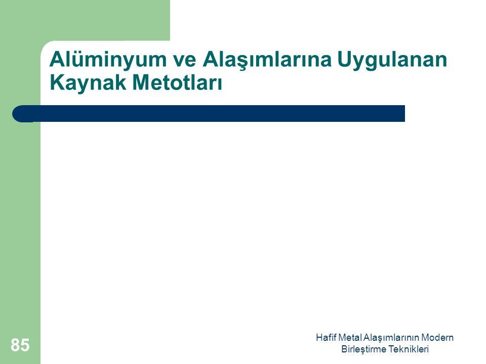 Alüminyum ve Alaşımlarına Uygulanan Kaynak Metotları